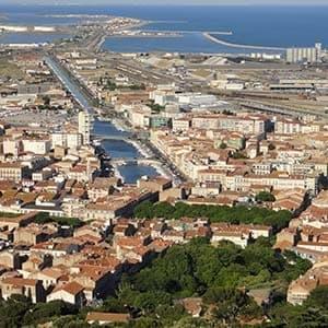 Vue sur sète et la Mer méditerranée